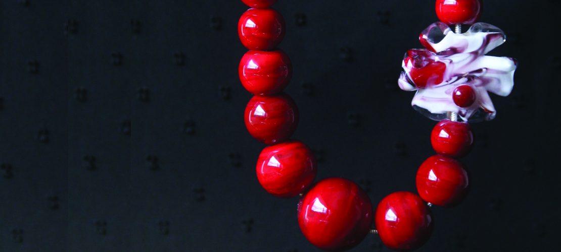 Collier en perle de verre rouge de Murano
